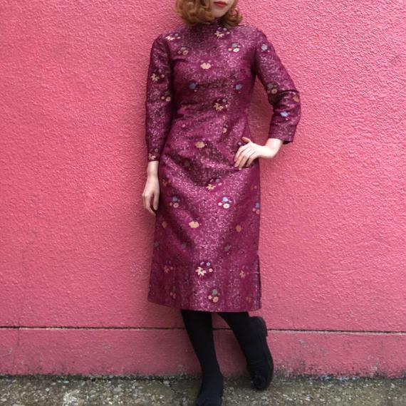 ヴィンテージ  スワローと花刺繍のチャイナワンピース
