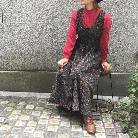 Vintage Floral Corduroy Dress