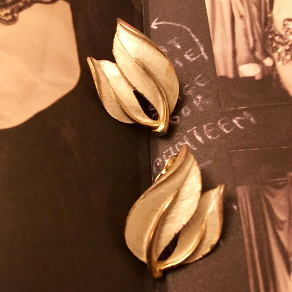 Vintage White Leaf Earrings