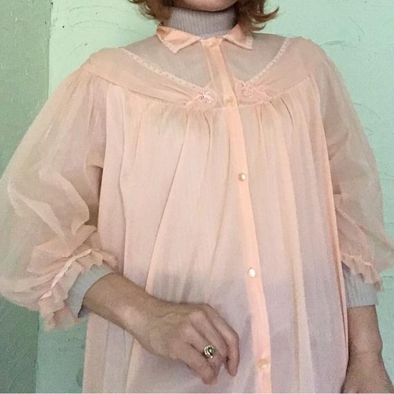50's Vintage Chiffon Bed Gown