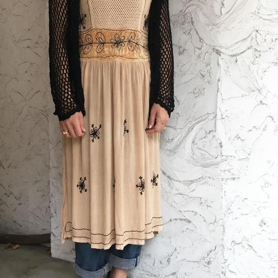 Vintage Indian Chemical Cream Dress