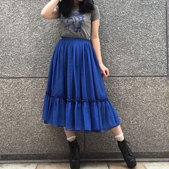 Vintage Royal Blue Chiffon Gather Skirt