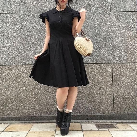 Vintage Ruffle Sleeve Black Dress