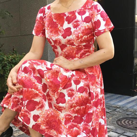 Vintge Red Flower Dress