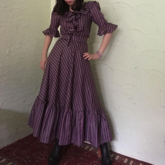 70's Vintage Stripe Ruffle Maxi Dress
