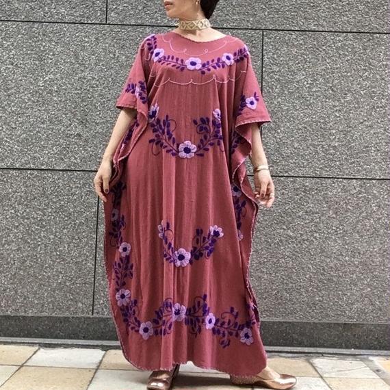 ヴィンテージ  インディア コットン 刺繍 マキシワンピース