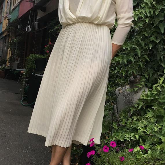 Vintage Pleated White Dress