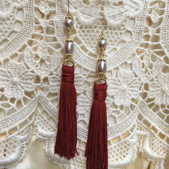 Vintage Pearl with Bordeaux Tassel by freaque