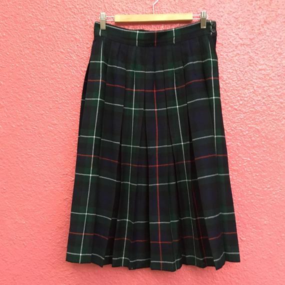 ヴィンテージ グリーンチェック プリーツスカート
