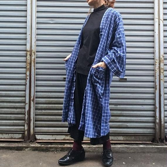 70's Vintage Blue Check Cotton Gown