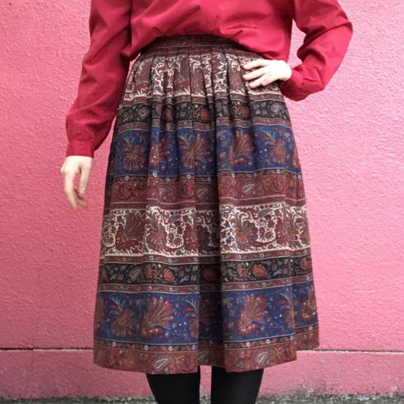 ヴィンテージ 柄 ウール スカート