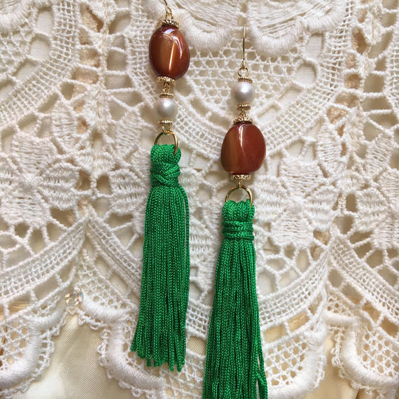 Vintage Brown Stone & Pearl with Green Tassel by freaque