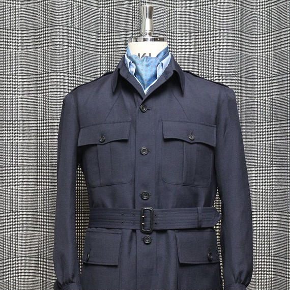 Safari Jacket/Navy Linen&Wool