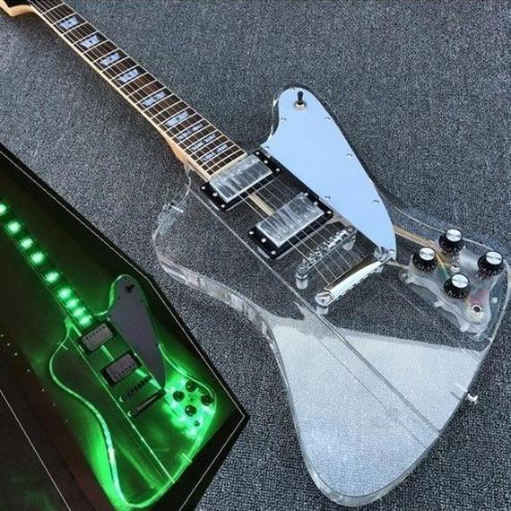 【送料無料!】アクリルギター ledライト 光る 本体 クリア 透明 白ホワイトピックガード 40インチ【新品】