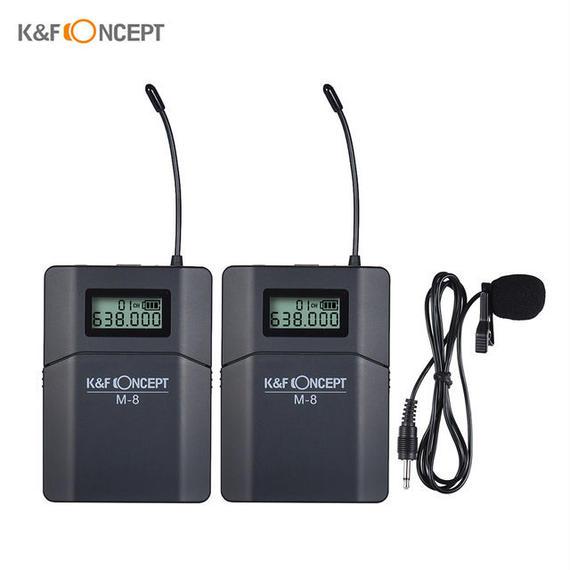 【送料無料!】K&F CONCEPT M-8 UHFワイヤレスラべリアラペルマイク キャノンニコンソニーDSLR用送信機レシーバー単方向マイク付き【新品】