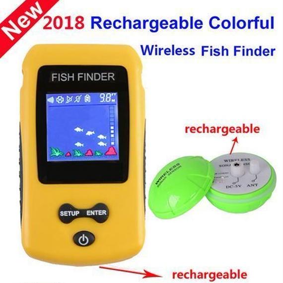 【送料無料!】KDRカラフルなワイヤレス魚群探知機ソナーセンサートランスデューサの深さエコーサウンダー充電バッテリー【新品】