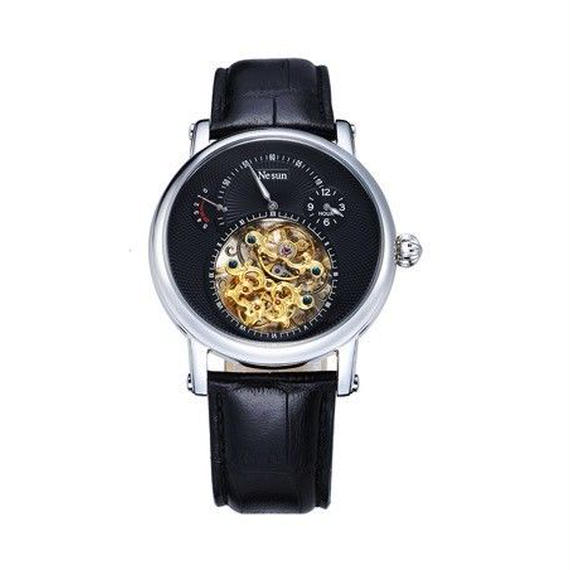 NESUN 自動巻き 機械式腕時計 メンズ トゥールビヨン サファイアクリスタル レザーストラップ ブラック