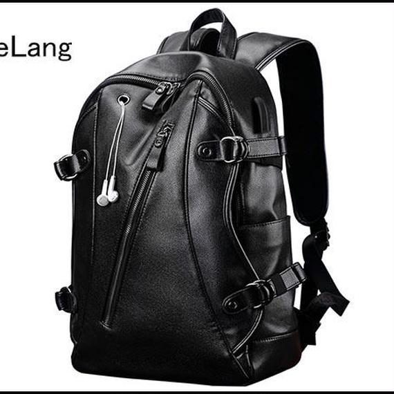 【送料無料!】LieLang メンズ 大容量 リュック・デイバッグ PU 黒タイプC【新品】