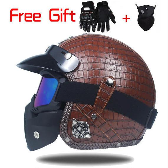 高級品 PU レザー ハーレーヘルメット バイク ジェット ヘルメット ゴーグル マスク付 バブルシールド ビンテージ ブラウン M~XLサイズ 1