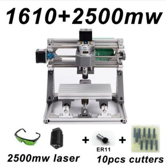 【送料無料!】CNC1610 ミニ フライス盤+2500mWセット DIY 組み立てキット 3軸 木彫り彫刻機 レーザー彫刻機 【新品】