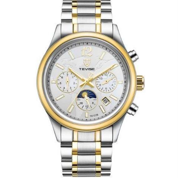 【送料無料!】TEVISE 腕時計 メンズ アナログ ビジネス ステンレスベルト ラグジュアリーウォッチ (386B)【新品】