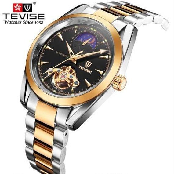 【送料無料!】海外ブランド腕時計男性 自動機械式時計ムーンフェイズスケルトン腕時計時計 レロジオ masculino tevise【新品】
