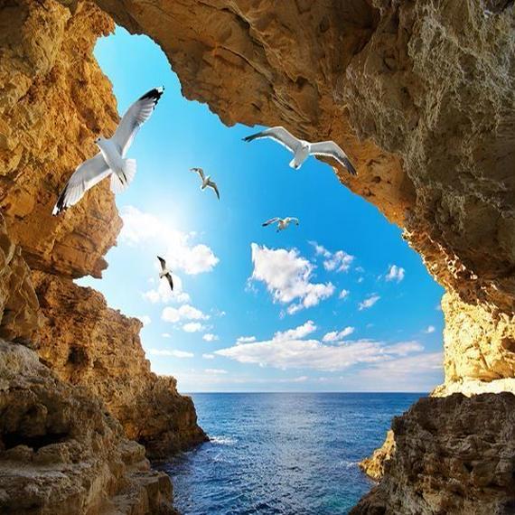 【送料無料!】3D壁紙 300×200㎝ 青空 白い雲 カモメ 洞窟 家のインテリア 装飾【新品】