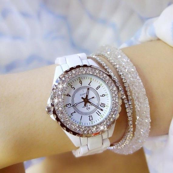 【送料無料!】レディースウォッチ 海外人気ブランド BEE SISTER ラインストーンベゼル腕時計 パヴェ ジュエリー ブレスウォッチ【新品】