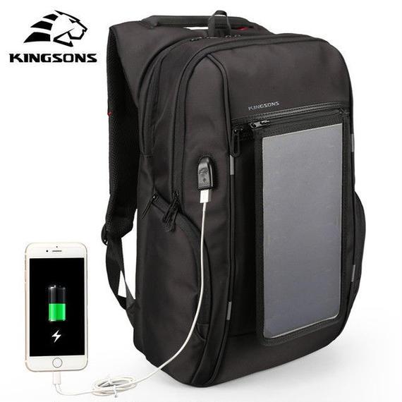 【送料無料!】便利な多機能バッグ KINGSONS バックパック  ソーラーパネル付き(海外から直送)【新品】
