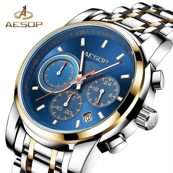 メンズ 腕時計 クォーツ ステンレス 耐衝撃 防水 レロジオ 海外ブランド品 高級品