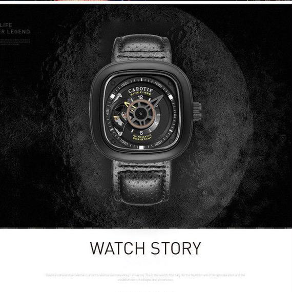【送料無料!】高級ブランド 機械式 メンズ 腕時計 スクエア 高級レザー ビジネス カジュアル  海外限定ブランド 希少【新品】