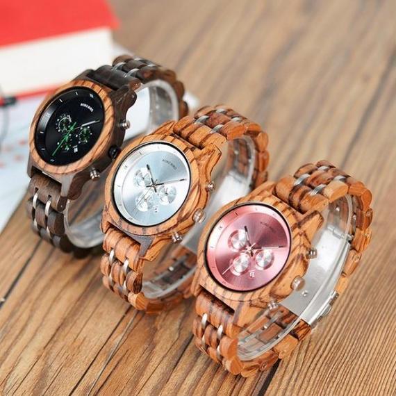 【送料無料!】BOBO BIRD/選べる3色 レディース 女性 木製腕時計 クロノグラフ 高級ウッドメタルストラップ  自然に優しい天然木【新品】