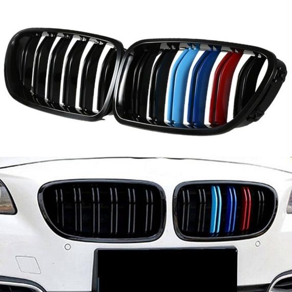 【送料無料!】BMW F10F11 フロント バンパー グリル Mスポーツ 黒 ブラック 艶あり 光沢 ダブルフィン Mカラー 左右 前期後期【新品】