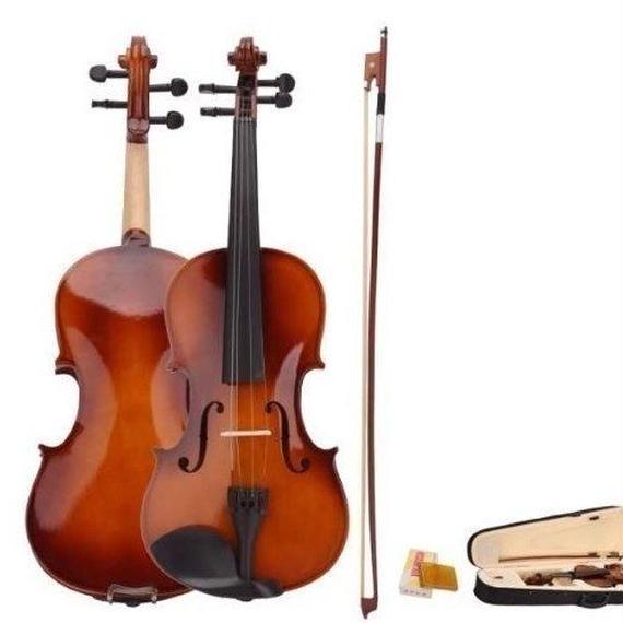 【送料無料!】バイオリン 4/4 本体 アコースティック セット 弦 弓 木製 ナチュラル 特殊【新品】