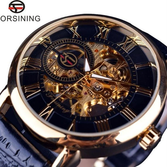 Forsining 自動巻 機械式腕時計 トゥールビヨン ステンレス スケルトン 革バンド ブラック ホワイト ブラウン