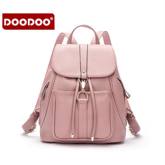 【送料無料!】【DOODOO】多機能 巾着 レディースリュック PU ピンク【新品】
