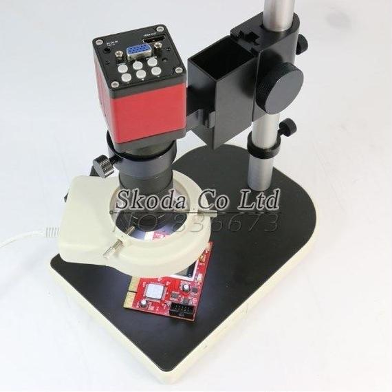 【送料無料!】ビデオマイクロスコープ 13メガピクセル HD 60F / S HDMI VGA 工業顕微鏡カメラ 130X Cマウントレンズ 56 LEDリングライト セット【新品】