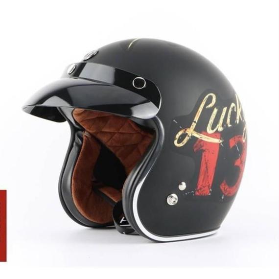 【送料無料!】レトロ バイク ジェット ヘルメット ハーレー等に Lucky13 スカル ドクロ サイズM~XXLから選択【新品】