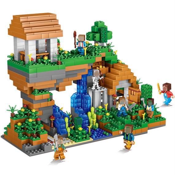 【送料無料!】■レゴ風 マインクラフト エスパーダ ブロック水滝 ミニフィグ セット■【新品】