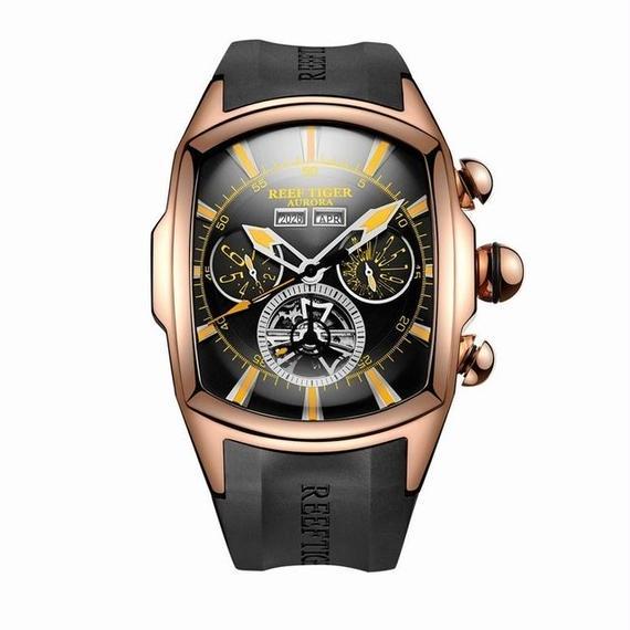 【送料無料!】機械式腕時計 スケルトン トゥールビヨン トノー型 ラバーストラップ reef tiger製 RGA3069PWB【新品】