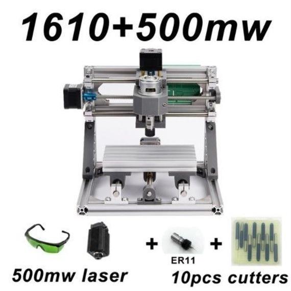 【送料無料!】CNC1610 ミニ フライス盤+500mWセット DIY 組み立てキット 3軸 木彫り彫刻機 レーザー彫刻機【新品】