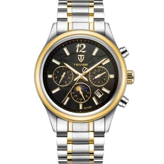 【送料無料!】TEVISE 腕時計 メンズ アナログ ビジネス ステンレスベルト ラグジュアリーウォッチ (386C)【新品】