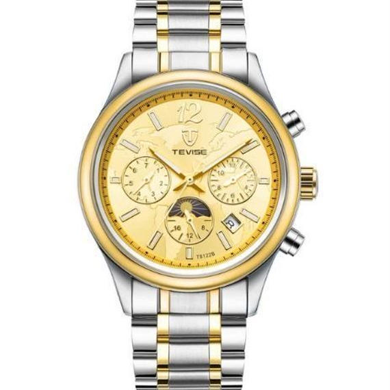 【送料無料!】TEVISE 腕時計 メンズ アナログ ビジネス ステンレスベルト ラグジュアリーウォッチ (386D)【新品】