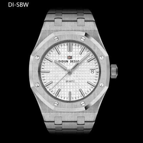 限定品! 日本未発売 DIDUN高級腕時計 サファイアガラス クォーツ 日本製ムーブ 防水 ステンレス メンズ シルバー