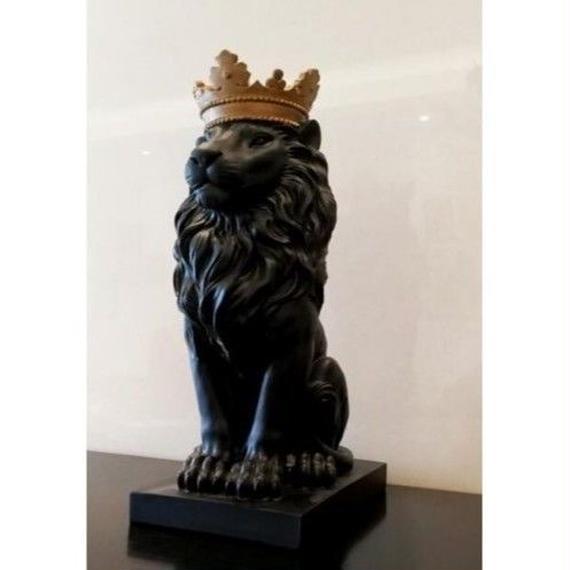 【送料無料!】ブラック クラウン ライオン像 手芸 装飾 クリスマス 装飾用 ホーム 彫刻 escultura ホーム デコレーション アクセサリー【新品】
