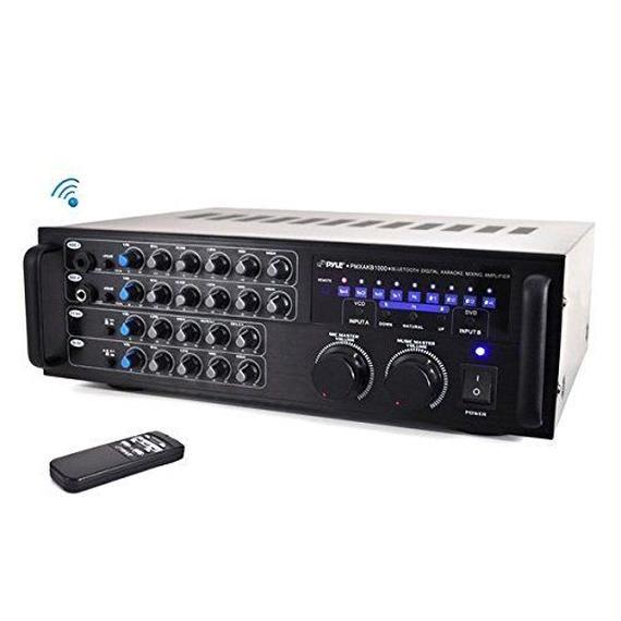 【送料無料!】Pyle PMXAKB1000 - 1000 Watt DJカラオケミキサー アンプ内蔵 Bluetooth内蔵 2マイク入力 EQ【新品】