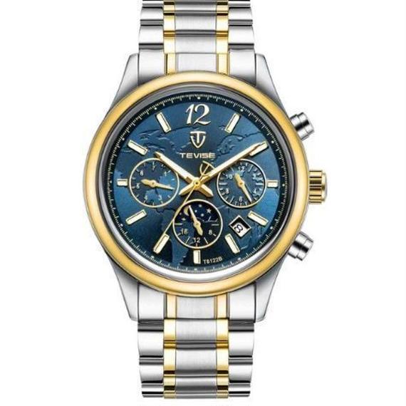 【送料無料!】TEVISE 腕時計 メンズ アナログ ビジネス ステンレスベルト ラグジュアリーウォッチ (386A)【新品】