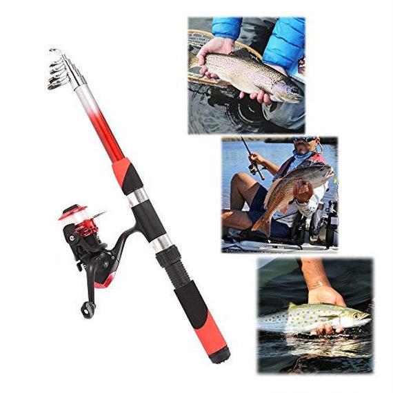 【送料無料!】Lixada伸縮釣りロッドとリールコンボ2.1 Mファイバーグラスフルキット海釣りポールSpinning Reel Set with釣りルアー、フック【新品】