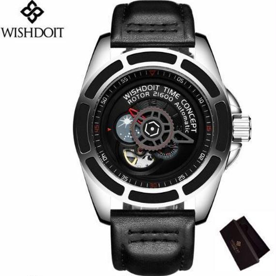 【送料無料!】WISHDOIT 自動巻 機械式腕時計 革バンド スケルトン トゥールビヨン (シルバーブラック)【新品】