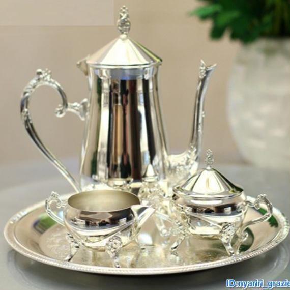 【送料無料】銀 メッキ コーヒーティーセット プレート 瓶 シルバー 光沢 結婚式 パーティー【新品】